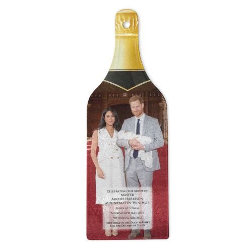 Royal Baby Master Archie Harrison Mountbatten-Windsor Bottle Shaped Tempered Glass Chopping Board